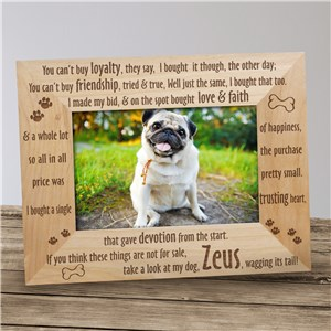 Engraved Loyal Dog Wood Picture Frame