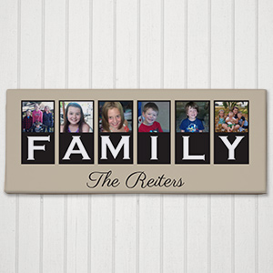 Personalized Family Photo Canvas - 1 line Custom Message