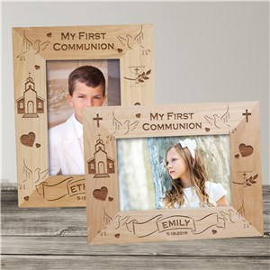 My First Communion Engraved Wood Frame