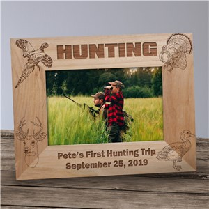 Hunting Engraved Wood Picture Frame