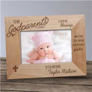 Engraved Godparent Wood Picture Frame