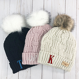 Embroidered Initial Cable Knit Plush Hat