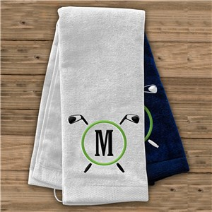 Embroidered Golf Clubs Initial Golf Towel