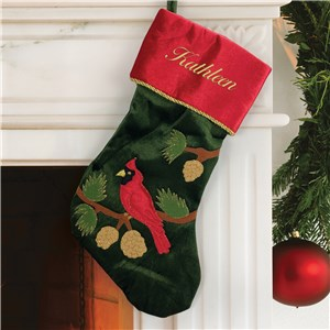 Embroidered Green Cardinal Stocking