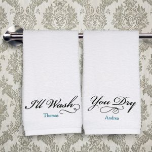Embroidered Couples Hand Towel Set