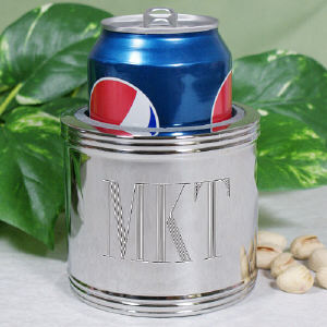 Silver-plated Engraved Can Cooler