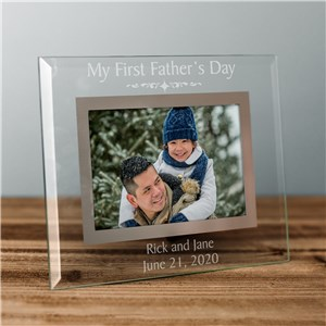 First Fathers Day Glass Engraved Picture Frame