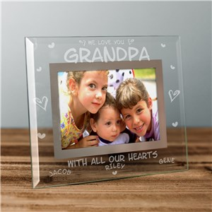 Engraved All Our Hearts Glass photo Frame