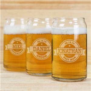 Engraved Groomsmen Beer Can Glass