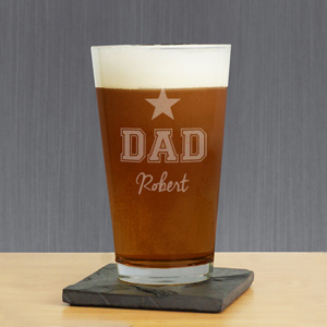 Engraved Star Beer Glass