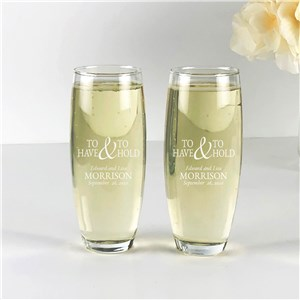 Engraved To Have and To Hold Stemless Flute Set