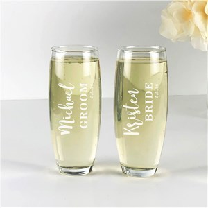 Engraved Bride and Groom Stemless Flute Set
