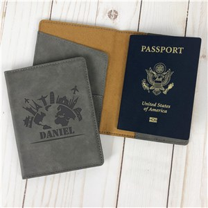 Personalized World Skyline Passport Holder