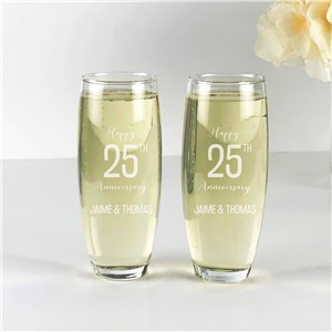 Engraved Happy Anniversary Stemless Flute Set