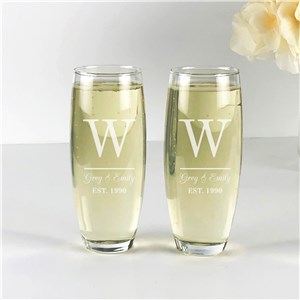 Engraved Initial And Couples Names Stemless Flute Set