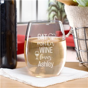 Engraved Mother Wine Lover Stemless Wine Glass