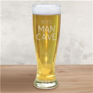 Engraved Man Cave Glass Pilsner