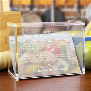 Engraved Happily Ever After Acrylic Recipe Box