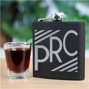 Engraved Initials Steel Flask