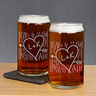 Engraved Carved Initial Beer Can Glass Set L8215118-S2
