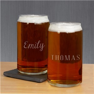 Engraved Any Name Beer Can Glass