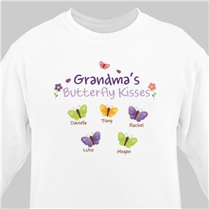 Butterfly Kisses Personalized White Sweatshirt