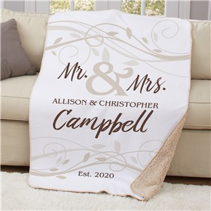 Personalized Mr & Mrs Wedding Sherpa Throw