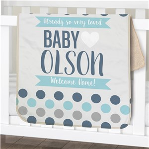 Personalized Polka Dots Baby Sherpa Blanket