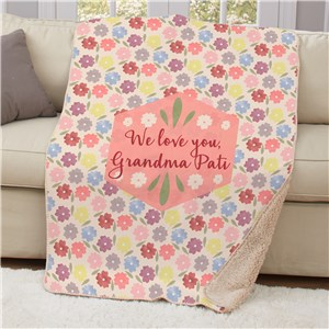 Personalized Pansy Floral Sherpa