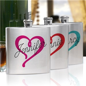 Personalized Heart Name Flask