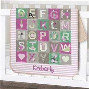 Personalized Baby Girl Alphabet Sherpa Blanket