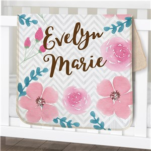 Personalized Watercolor Floral Baby Sherpa Blanket