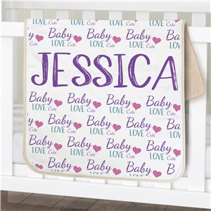 Personalized Baby Girl Words Sherpa Blanket
