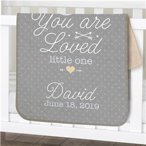 Personalized You Are Loved Little One Boy Sherpa Blanket