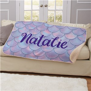 Personalized Mermaid Scales Sherpa Blanket