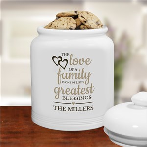 Personalized The Love of Family Cookie Jar