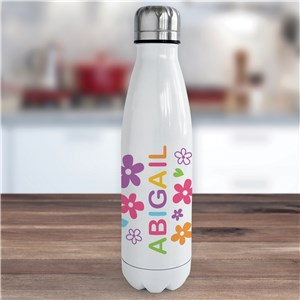 Personalized Name with Flowers Water Bottle