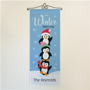 Personalized Winter Welcome With Penguins Wall Hanging