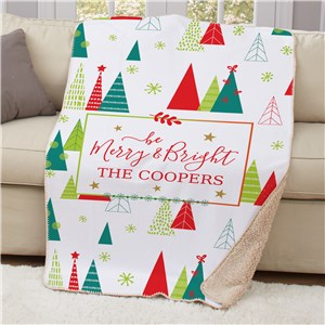 Personalized Be Merry & Bright 50x60 Sherpa Blanket