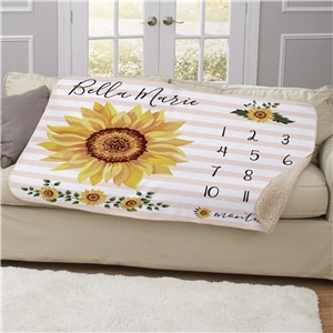 Personalized Sunflower Baby Monthly Milestone 50x60 Sherpa Blanket