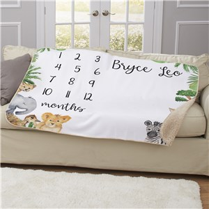 Personalized Animals Baby Monthly Milestone 50x60 Sherpa Blanket