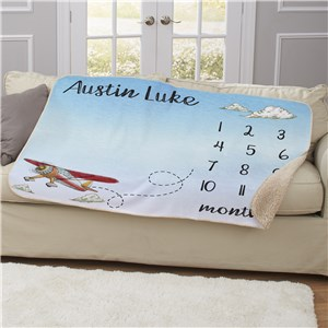 Personalized Airplane Baby Monthly Milestone 50x60 Sherpa Blanket