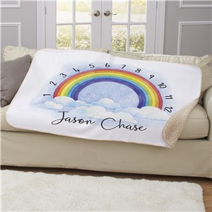 Personalized Rainbow Baby Monthly Milestone 50x60 Sherpa Blanket