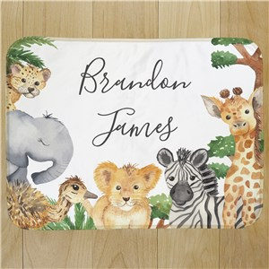 Personalized Wild Animals Baby Blanket