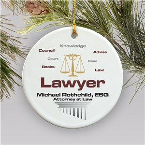 Lawyer Personalized Ceramic Christmas Ornament