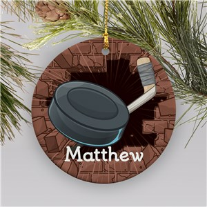 Personalized Hockey Ceramic Holiday Ornament