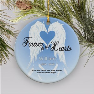 Forever In Our Hearts Ceramic Personalized Memorial Ornament