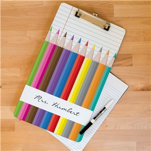 Colored Pencils Dry Erase Personalized Teacher Clipboard