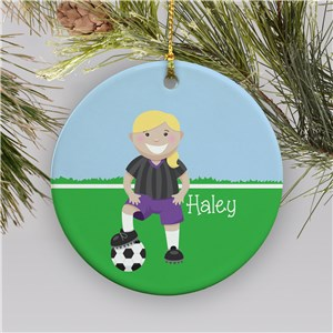 Personalized Girl Soccer Christmas Ornament | Ceramic