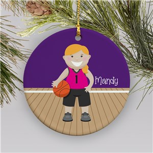 Personalized Girl Basketball Christmas Ornament | Ceramic
